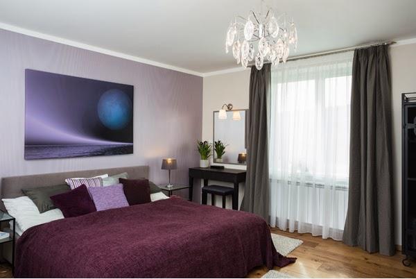 Black grey purple bedroom