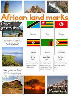 FREE PRINTABLES: African landmarks and African Flag Cards {Welcome to Mommyhood} #montessori, #freeprintables, #preschool, #homeschool