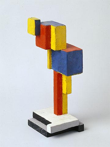Georges Vantongerloo, Composition émanante de l'ovoïde (Uit de eivorm voortkomende compositie), 1918, mahonie en olieverf, 17 x 6,5 x 6,5 cm, Collectie Angela Thomas Schmid, Zumikon.