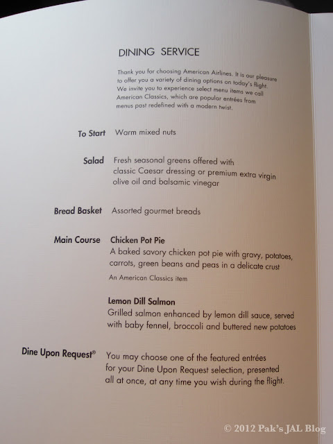 June business class menu on AA32