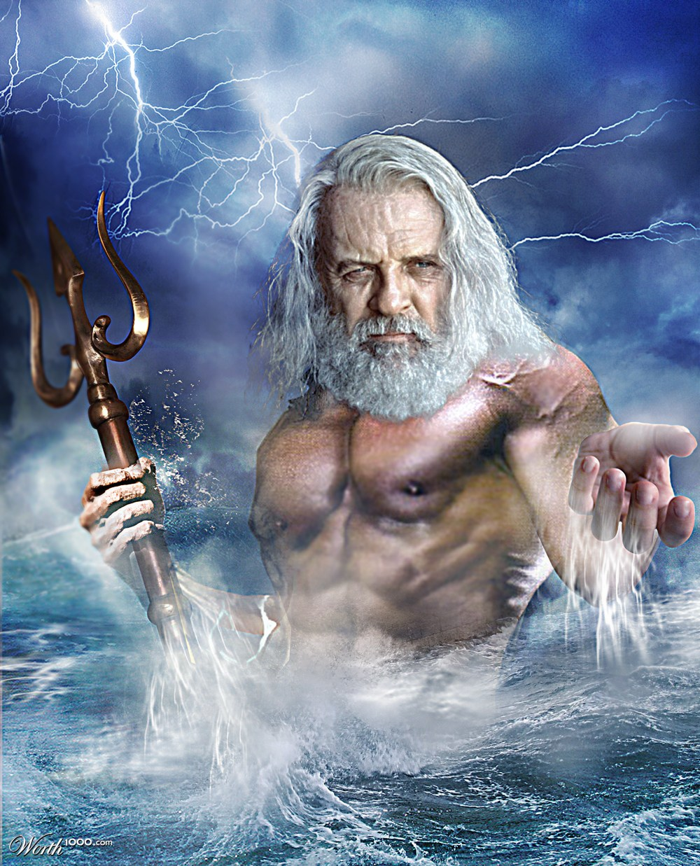digital mixed media greek god poseidon