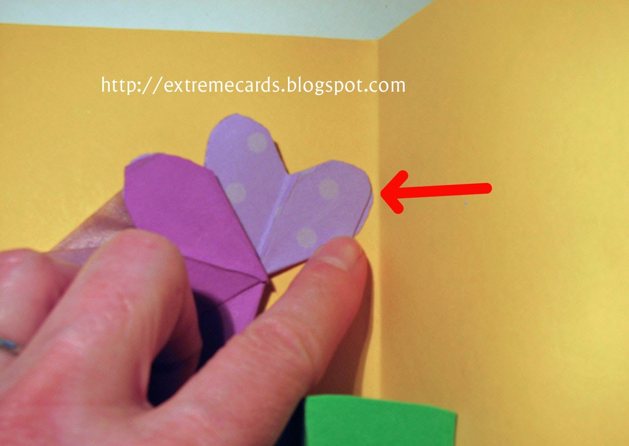 three flower pop up card flower placement