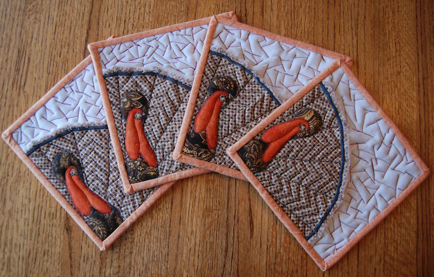 Keepin' In Stitches: Quilted Hot Pad Holders -- Applique Turkey ... : quilted hot pads - Adamdwight.com