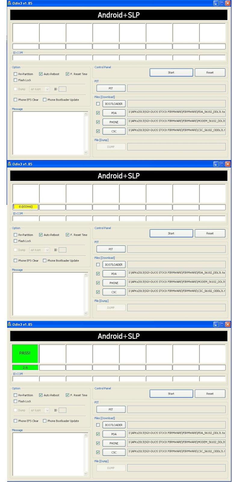 """IN ODIN, Select """" PDA_S6102_DDLJ1.tar.md5 """" in ---- PDA , ( from ..."""
