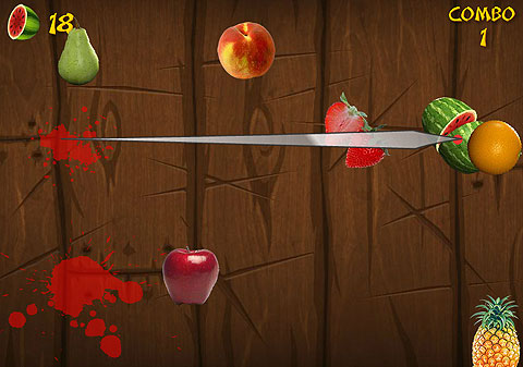 Fruit Ninja Kapow - One-switch style for chopping flying fruit and avoiding bombs.