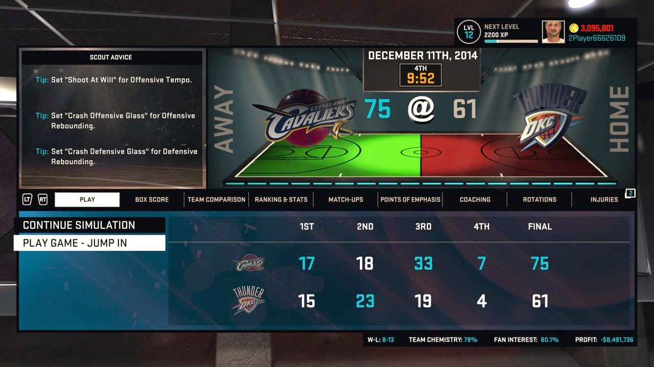 NBA 2K15 MyGM Simulation