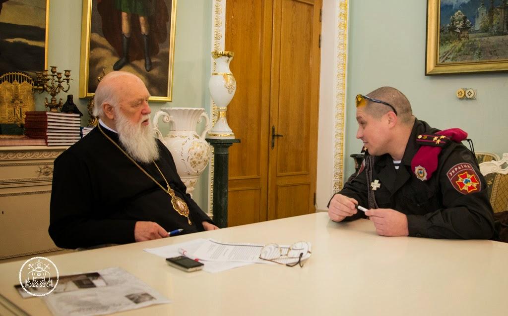 Патріарх Філарет благословив прапори для Національної гвардії України