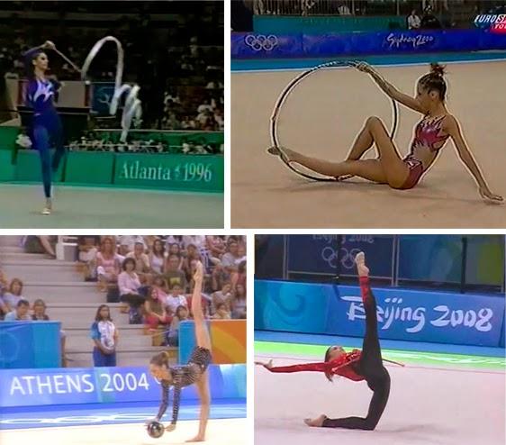 Almudena Cid Tostado en Atlanta 96, Sydney 2000, Atenas 2004 y Beijing 2008, individual, gimnasia rítmica