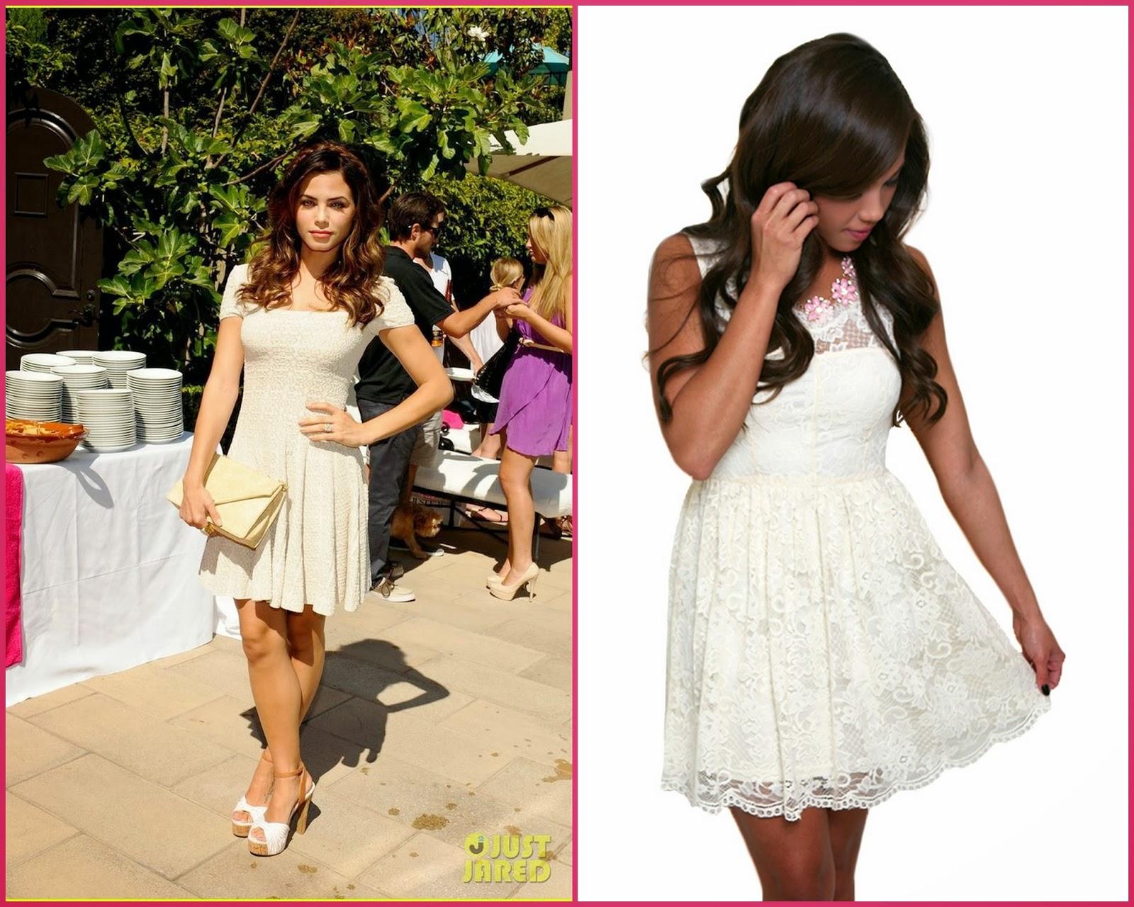 Jenna Dewan Tatum Style Cream Dress
