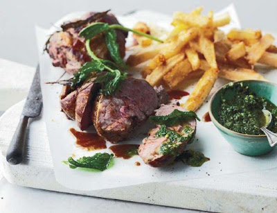 Mini lamb roasts with Italian-style mint sauce