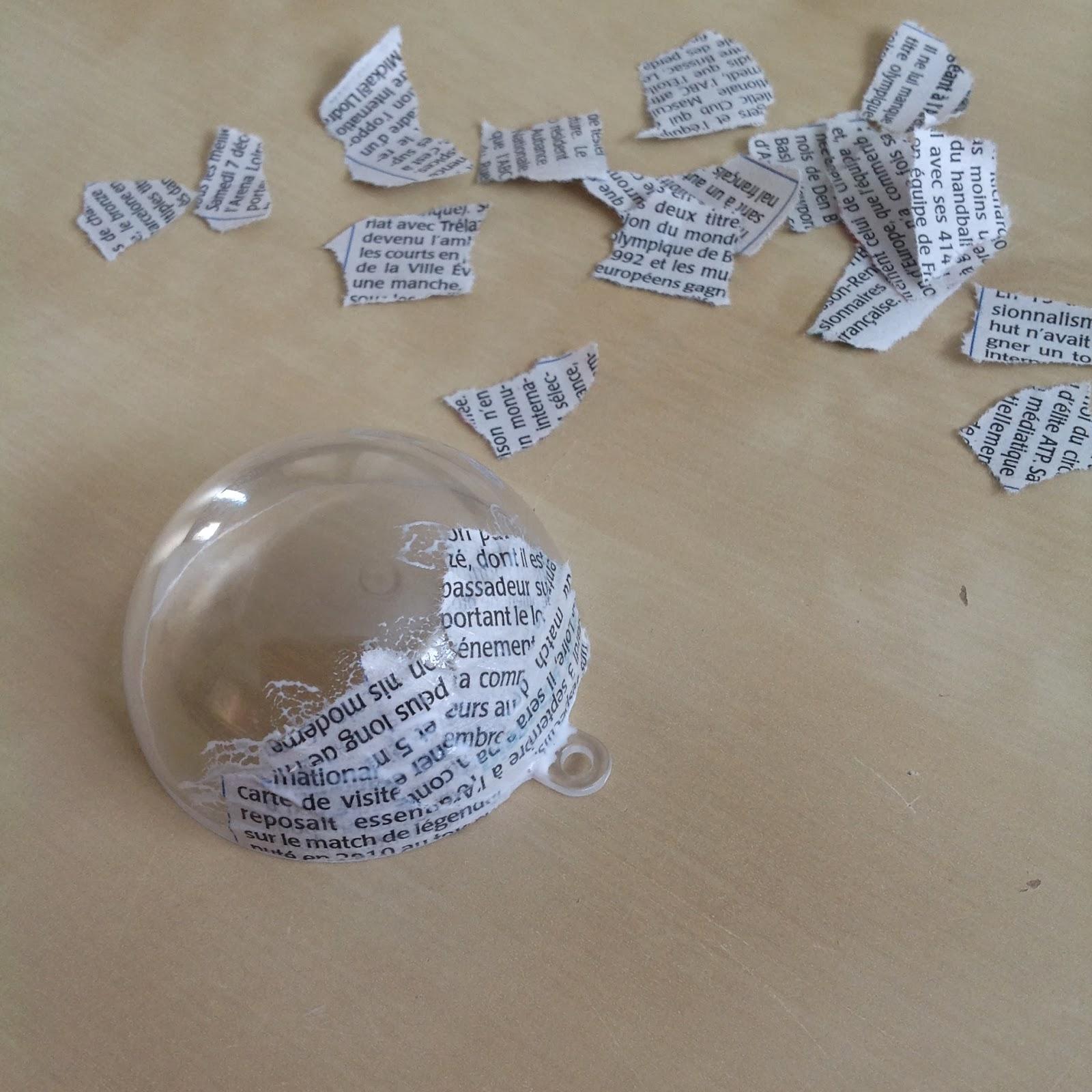 l 39 atelier de luciole tuto boule de no l papier journal. Black Bedroom Furniture Sets. Home Design Ideas