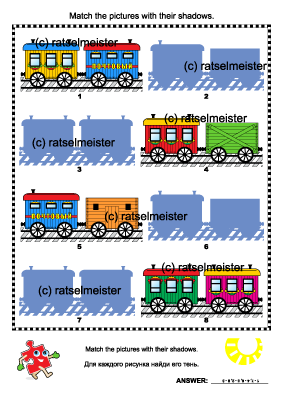 Match the pictures of toy train cars with their shadows - visual logic puzzle