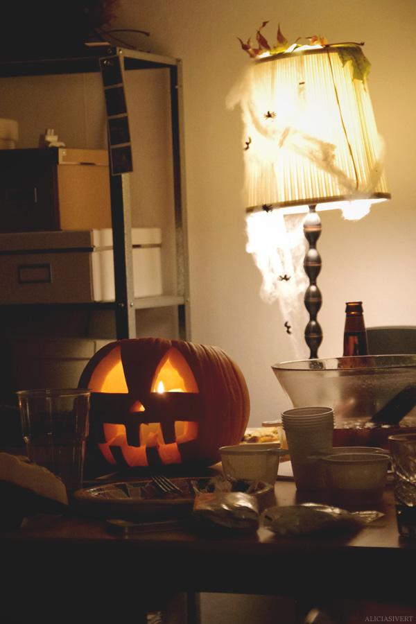 aliciasivert, alicia sivertsson, harry potter halloween party, fest, lampa, pumpa, pumpkin, decoration, dekoration, pyssel, spindlar, spindelnät, web, spiders