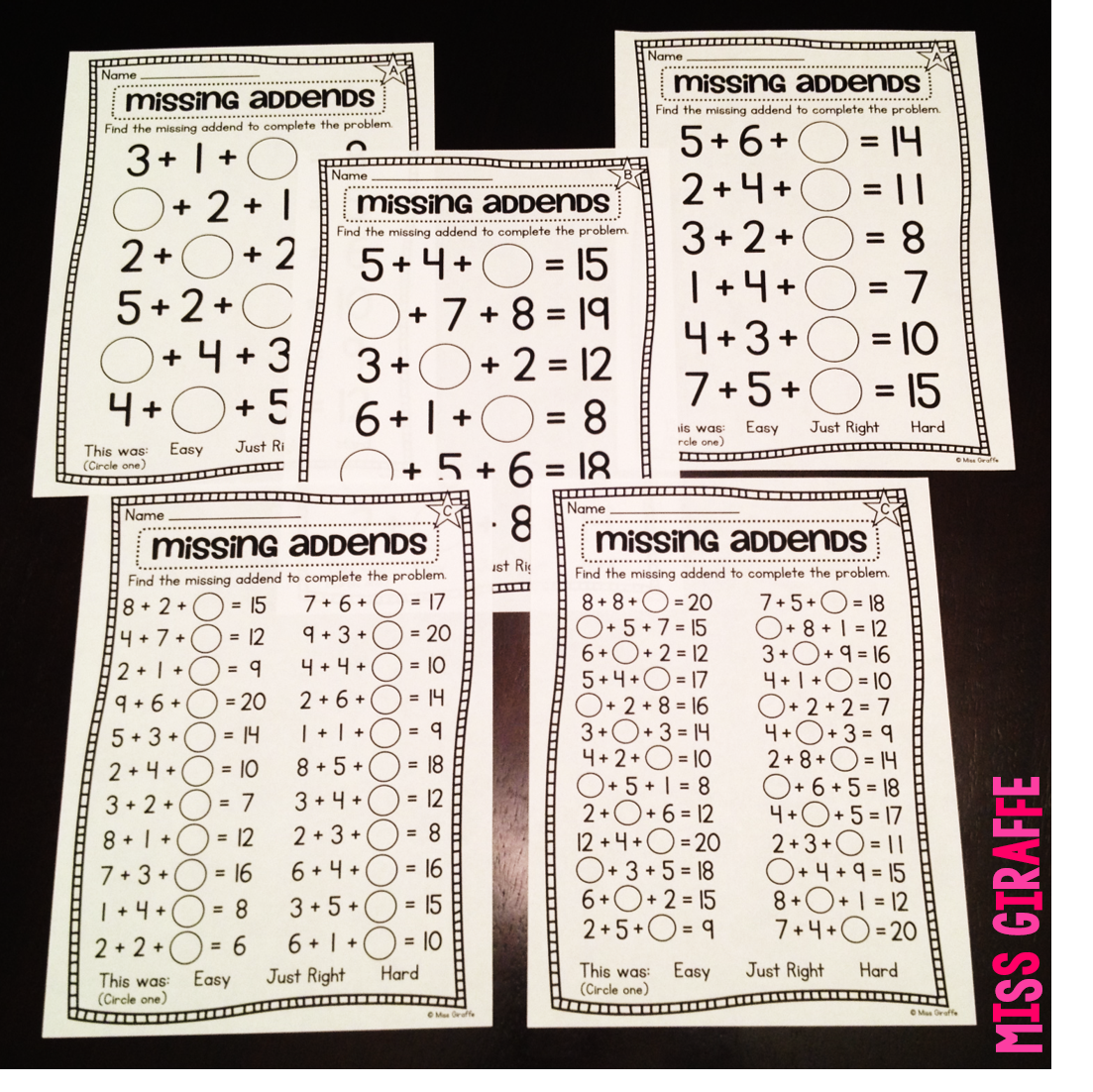 Miss Giraffes Class Adding 3 Numbers – Missing Addend Worksheets First Grade