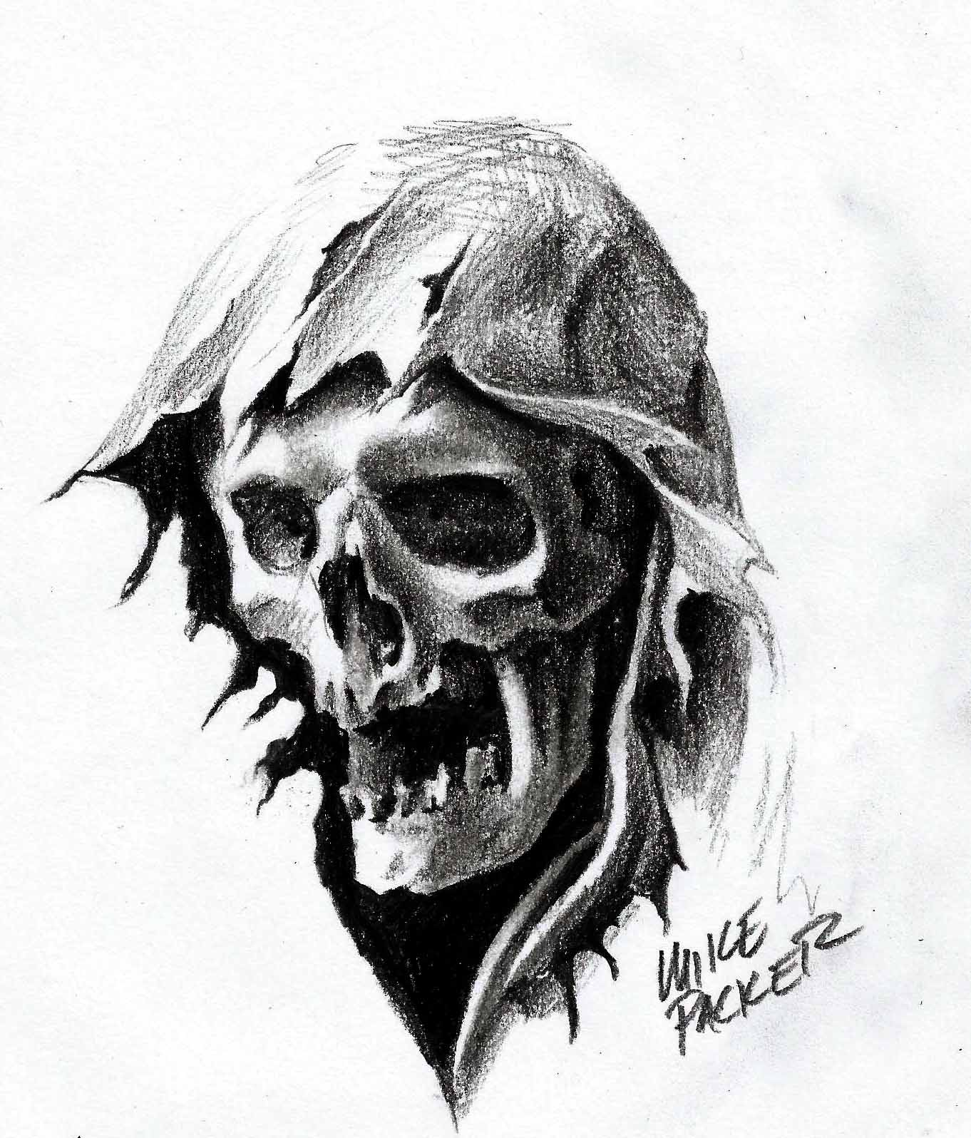 Devil Face Line Drawing : Mike packer reaper head