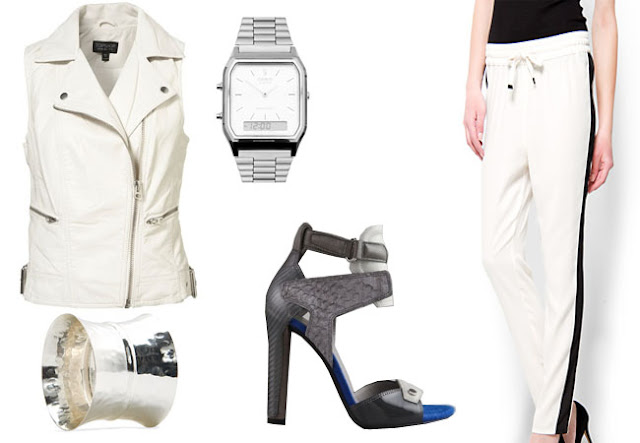 biker waistcoat, alexander wang,track trousers,spring look, white look,