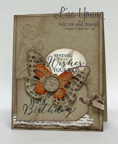 Stampin' Up! Butterfly Basics stamp set in Kraft earthy tones. Butterfly birthday card for the nature lover.