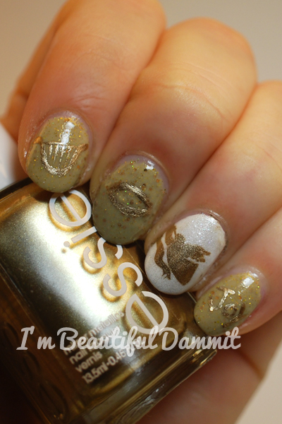 Im Beautiful Dammit 31 Day Christmas Nail Art Day 2 Gold Angel