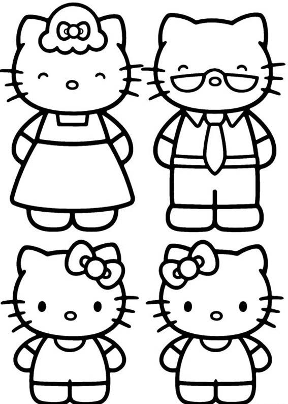 Desenhos Para Colorir Familia Hello Kitty