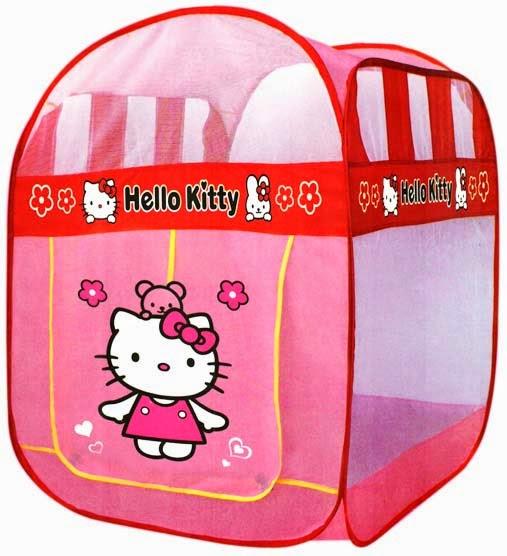 Kado ulang tahun berupa tenda Hello Kitty cantik bentuk kotak.