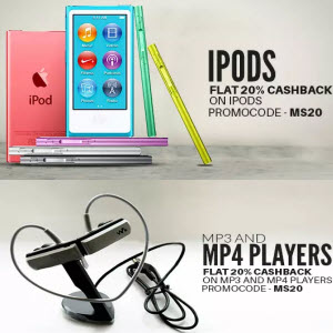 PayTM : Buy Mp3 & Mp4 Players and iPods 40% Cashback