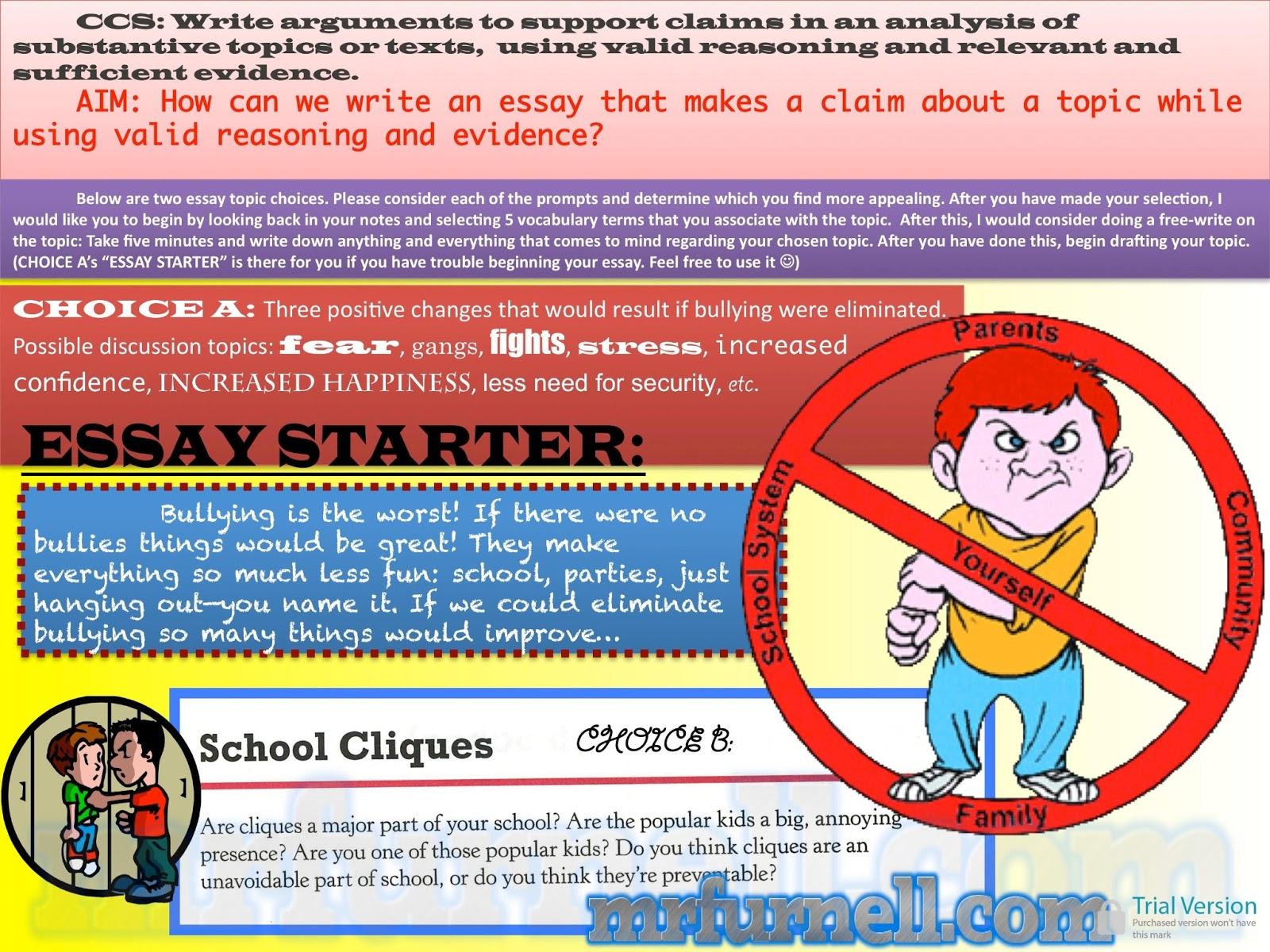 bullying essay prompts Bullying essay: causes and effects of bullying in schools bullying in schools bullying occurrences have been a perpetual problem in schools and among teenagers.