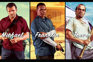 Artwork of GTA's three playable characters