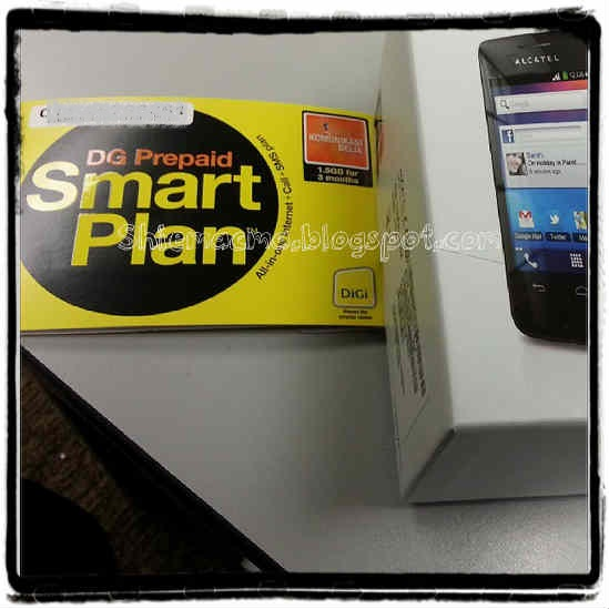 HP Alcatel One Touch Glory 2 + Digi Prepaid Smart plan