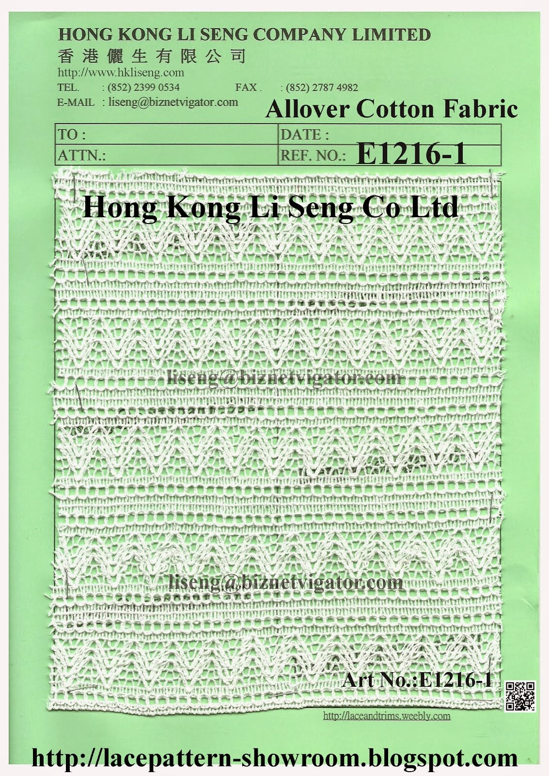 Allover Cotton Lace Fabric Manufacturer Wholesale Supplier - Hong Kong Li Seng Co Ltd
