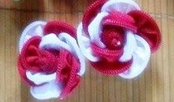 keronsang zip, red & white flower