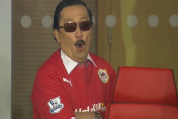 Cardiff owner Vincent Tan is seen booing at the end of their game against Sunderland