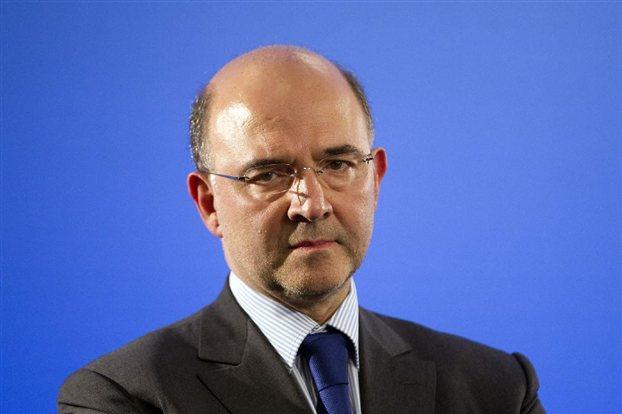 Η επικεφαλής του Διεθνούς Νομισματικού Ταμείου, Κριστίν Λαγκάρντ, ο επίτροπος Οικονομικών Υποθέσεων, Πιερ Μοσκοβισί, και ο πρόεδρος του Eurogroup, Γερούν Ντάισελμπλουμ, στη συνέντευξη Τύπου μετά τη χθεσινή συνεδρίαση στις Βρυξέλλες.
