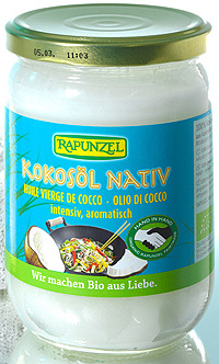 Imaginea borcanului cu ulei de cocos nativ, marca Rapunzel