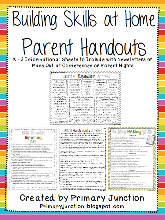 http://www.teacherspayteachers.com/Product/Building-Skills-at-Home-Parent-Handouts-English-Spanish-351013