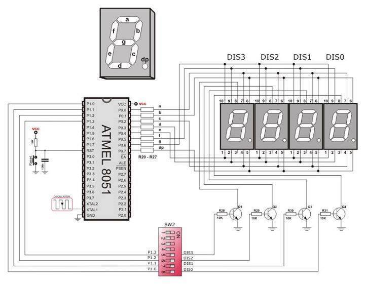 7-segment Led Displays Diagram  U202a