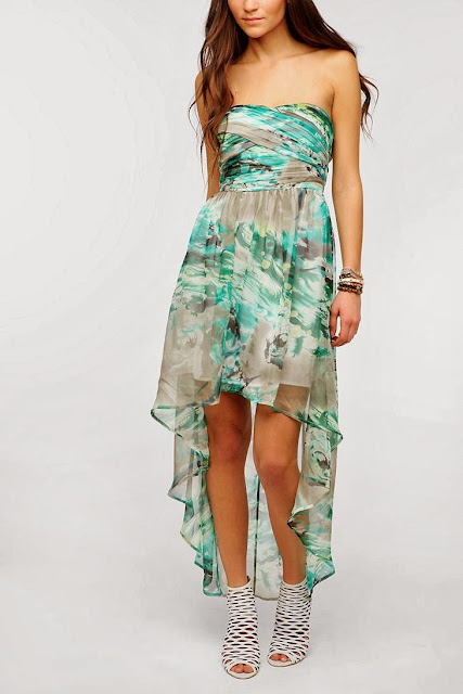 Pins And Needles Strapless Chiffon Maxi Dress With White Sandal