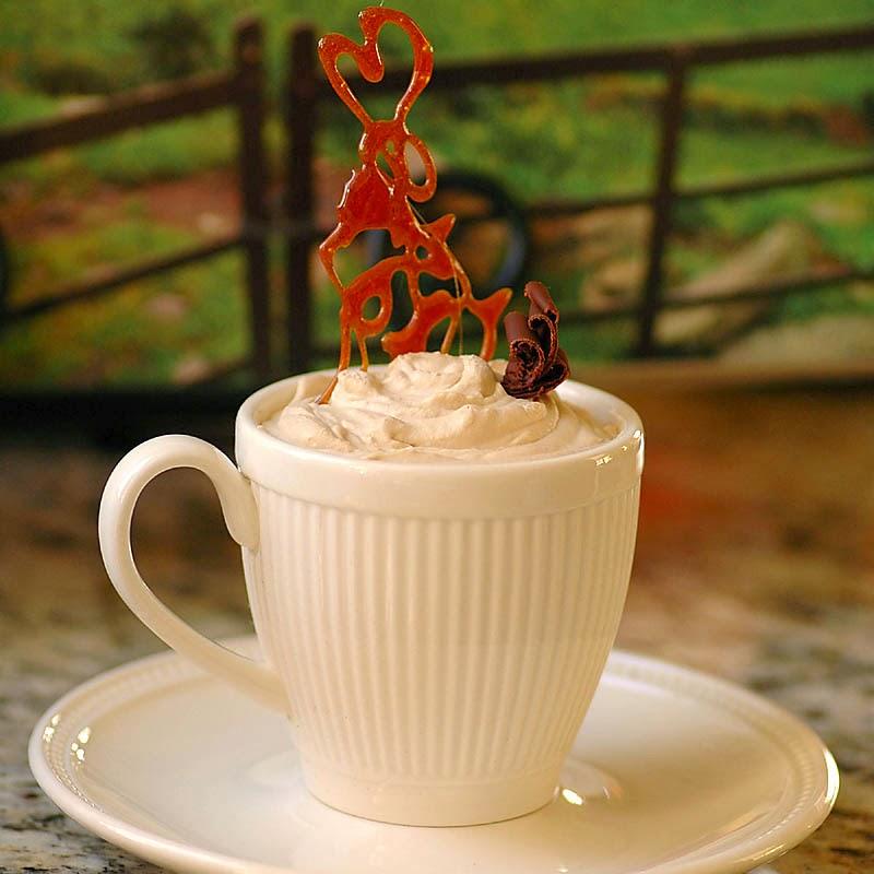 Bailey's Pots de Creme with Caramel Squiggles
