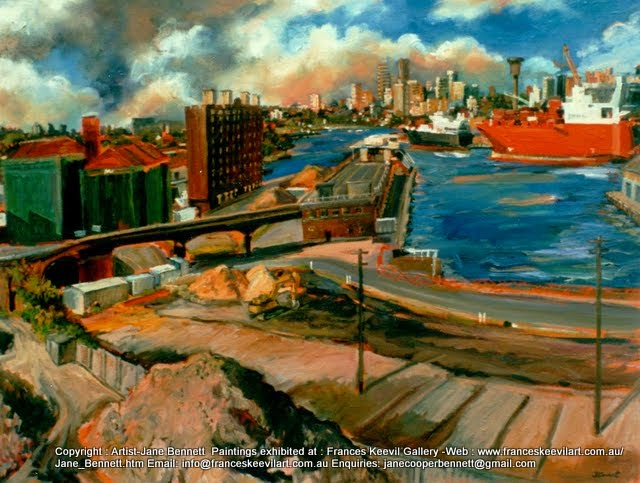 Pyrmont painting-plein air oil painting of Pyrmont in the  Australian National Maritime Museum. by industrial heritage artist Jane Bennett