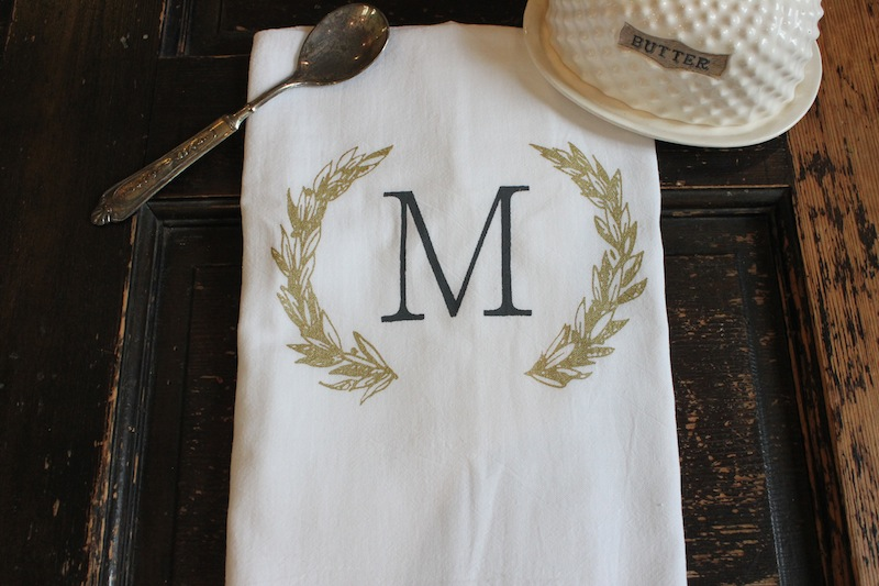 Beau Regal Monogrammed Kitchen Towel / With Color Options