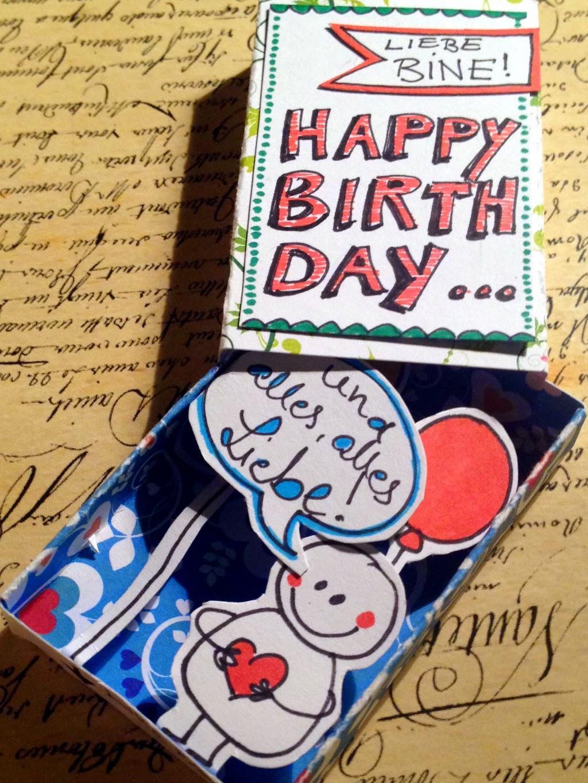Geburtstagskarte Streichholzschachtel basteln