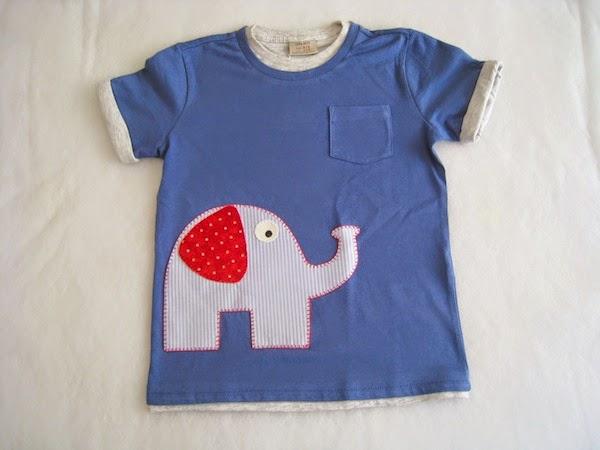 camiseta patchwork azul