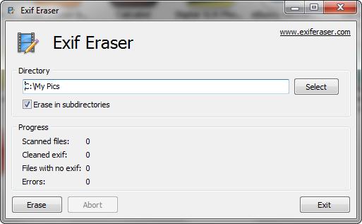 cancellare dati EXIF dalle Foto
