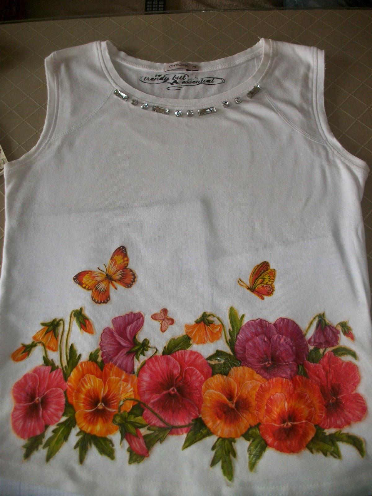 Las creaciones de Victoria. Decoupage paso a paso en Camiseta.