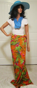 Tropical Orange Wrap Skirt or Sarong