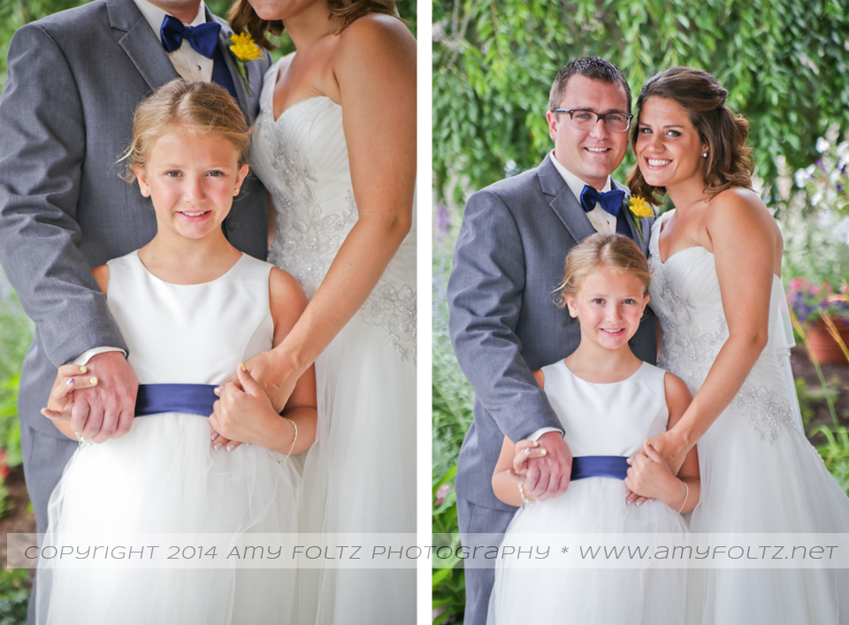 portraits of bride and groom with their daughter