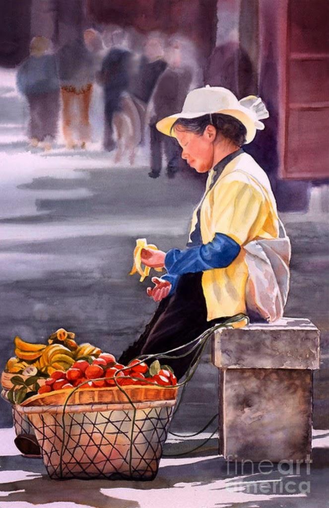 pinturas-de-vendedores-frutas-y-canastas