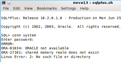 ORA-01034: ORACLE not available