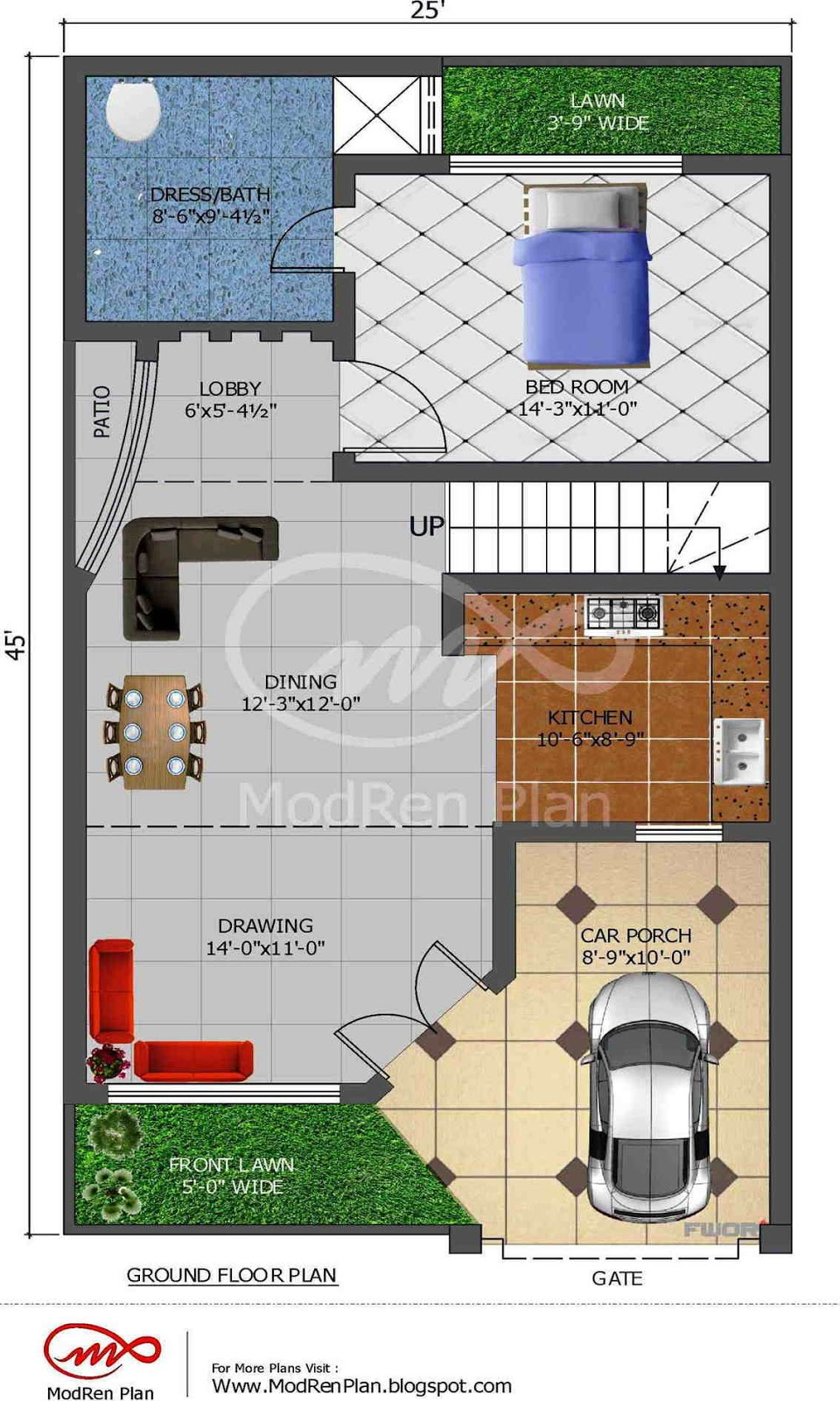 5 marla house plan 1200 sq ft 25x45 feet for House map 3d