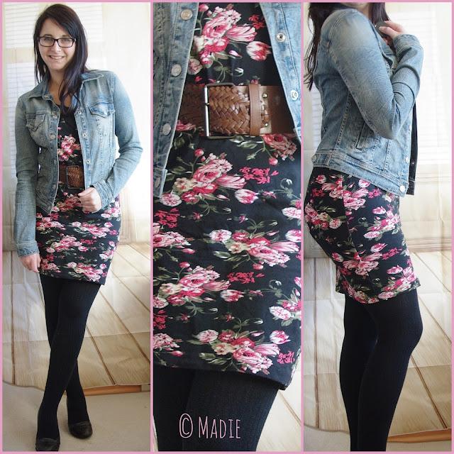 Outfit Floral Dress & Jeans Jacket