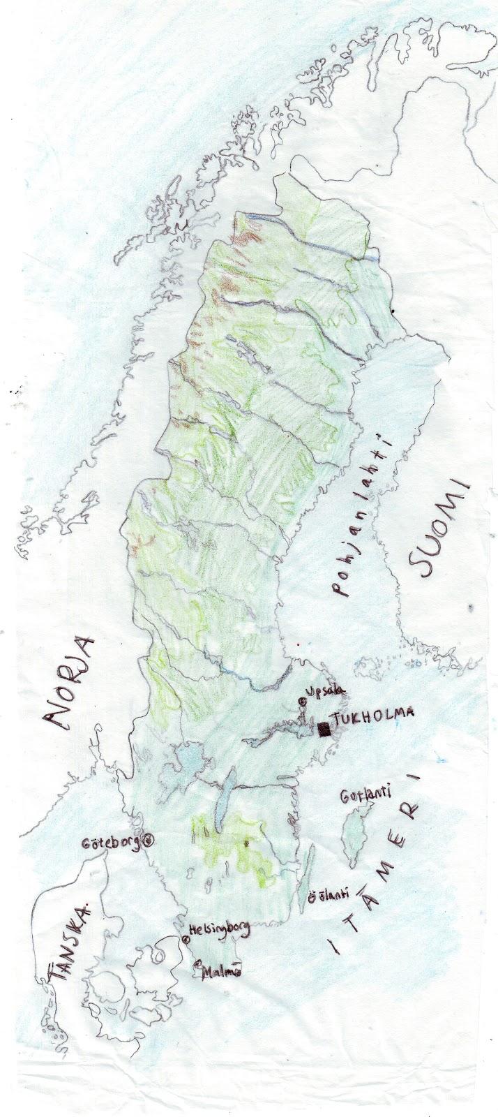 Ruotsin kartta kaupungit
